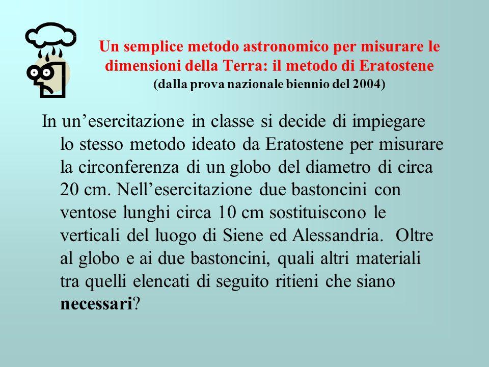 Un semplice metodo astronomico per misurare le dimensioni della Terra: il metodo di Eratostene (dalla prova nazionale biennio del 2004) In unesercitaz