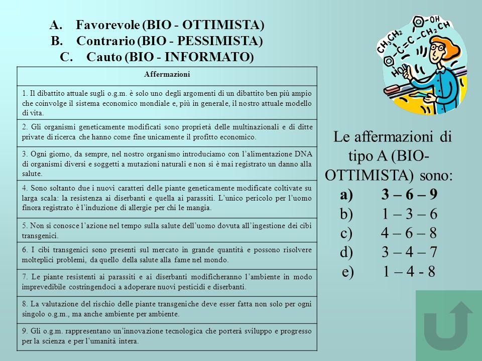 A. Favorevole (BIO - OTTIMISTA) B. Contrario (BIO - PESSIMISTA) C. Cauto (BIO - INFORMATO) Affermazioni 1. Il dibattito attuale sugli o.g.m. è solo un