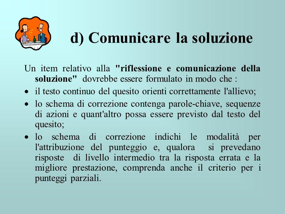 d) Comunicare la soluzione Un item relativo alla