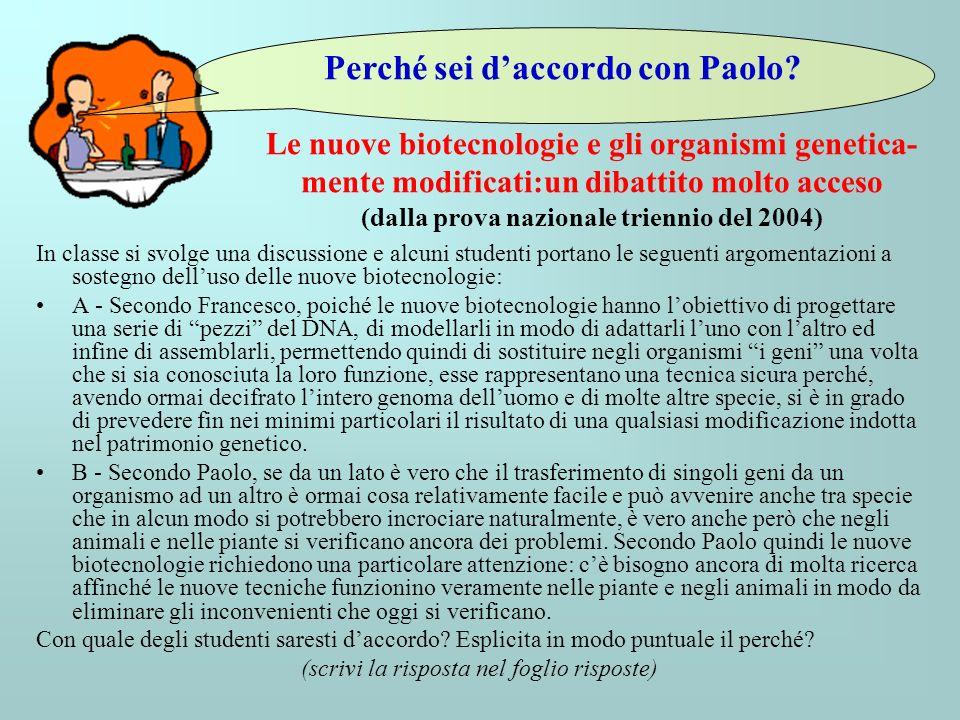Le nuove biotecnologie e gli organismi genetica- mente modificati:un dibattito molto acceso (dalla prova nazionale triennio del 2004) In classe si svo
