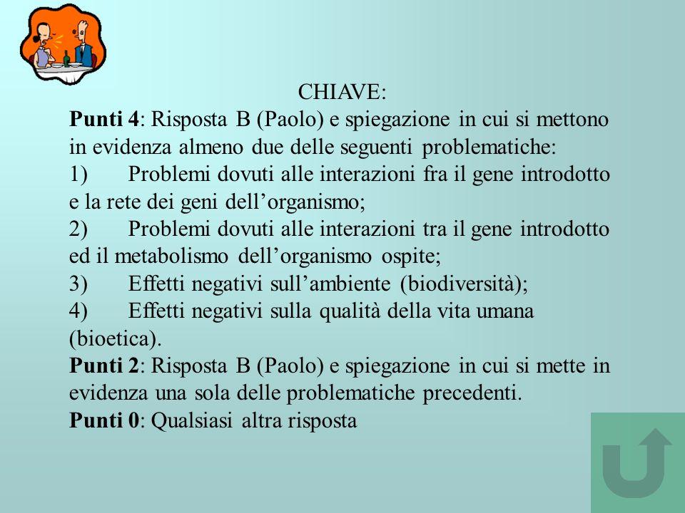 CHIAVE: Punti 4: Risposta B (Paolo) e spiegazione in cui si mettono in evidenza almeno due delle seguenti problematiche: 1) Problemi dovuti alle inter