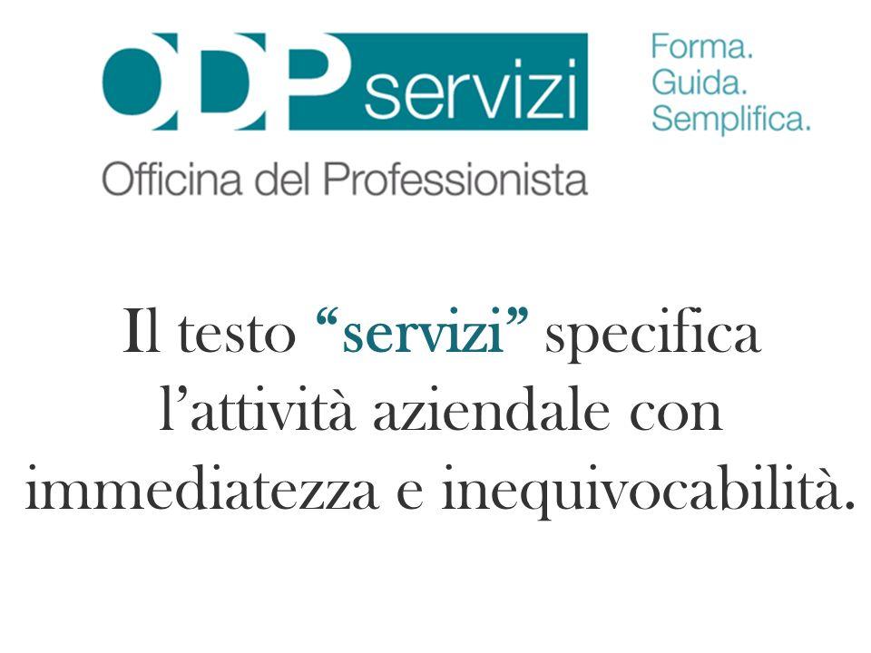 Il testo servizi specifica lattività aziendale con immediatezza e inequivocabilità.