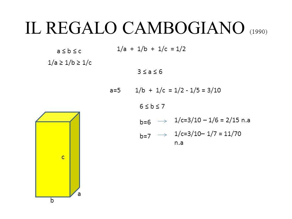 IL REGALO CAMBOGIANO (1990) a b c 1/a + 1/b + 1/c = 1/2 a b c 1/a 1/b 1/c 3 a 6 a=51/b + 1/c = 1/2 - 1/5 = 3/10 6 b 7 b=6 1/c=3/10 – 1/6 = 2/15 n.a b=