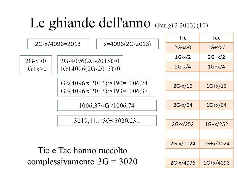 Le ghiande dell'anno (Parigi 2 2013) (10) 2G-x/4096=2013x=4096(2G-2013) 2G-x>0 1G+x>0 2G-4096(2G-2013)>0 1G+4096(2G-2013)>0 G<(4096 x 2013)/8190=1006,