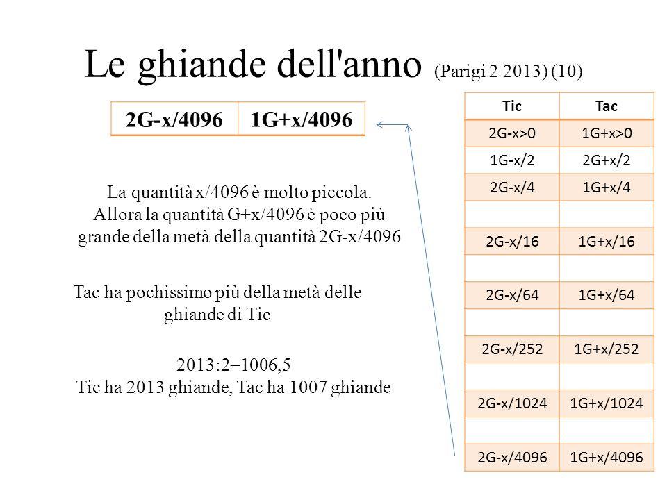 Le ghiande dell'anno (Parigi 2 2013) (10) TicTac 2G-x>01G+x>0 1G-x/22G+x/2 2G-x/41G+x/4 2G-x/161G+x/16 2G-x/641G+x/64 2G-x/2521G+x/252 2G-x/10241G+x/1