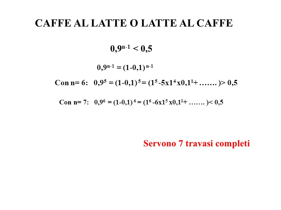 CAFFE AL LATTE O LATTE AL CAFFE 0,9 n-1 < 0,5 0,9 n-1 = (1-0,1) n-1 Con n= 6: 0,9 5 = (1-0,1) 5 = (1 5 -5x1 4 x0,1 1 + ……. )> 0,5 Con n= 7: 0,9 6 = (1