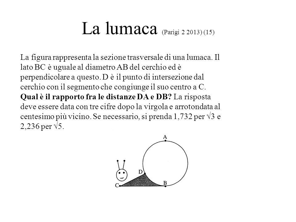 La lumaca (Parigi 2 2013) (15) La figura rappresenta la sezione trasversale di una lumaca. Il lato BC è uguale al diametro AB del cerchio ed è perpend