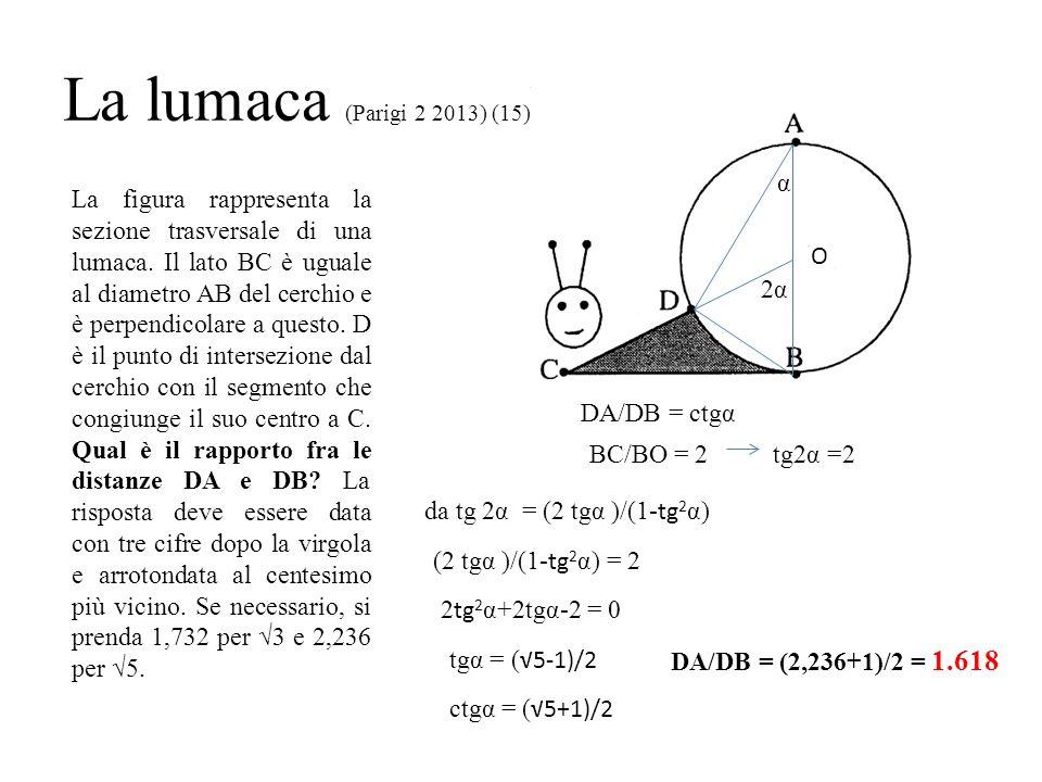 La lumaca (Parigi 2 2013) (15) La figura rappresenta la sezione trasversale di una lumaca. Il lato BC è uguale al diametro AB del cerchio e è perpendi