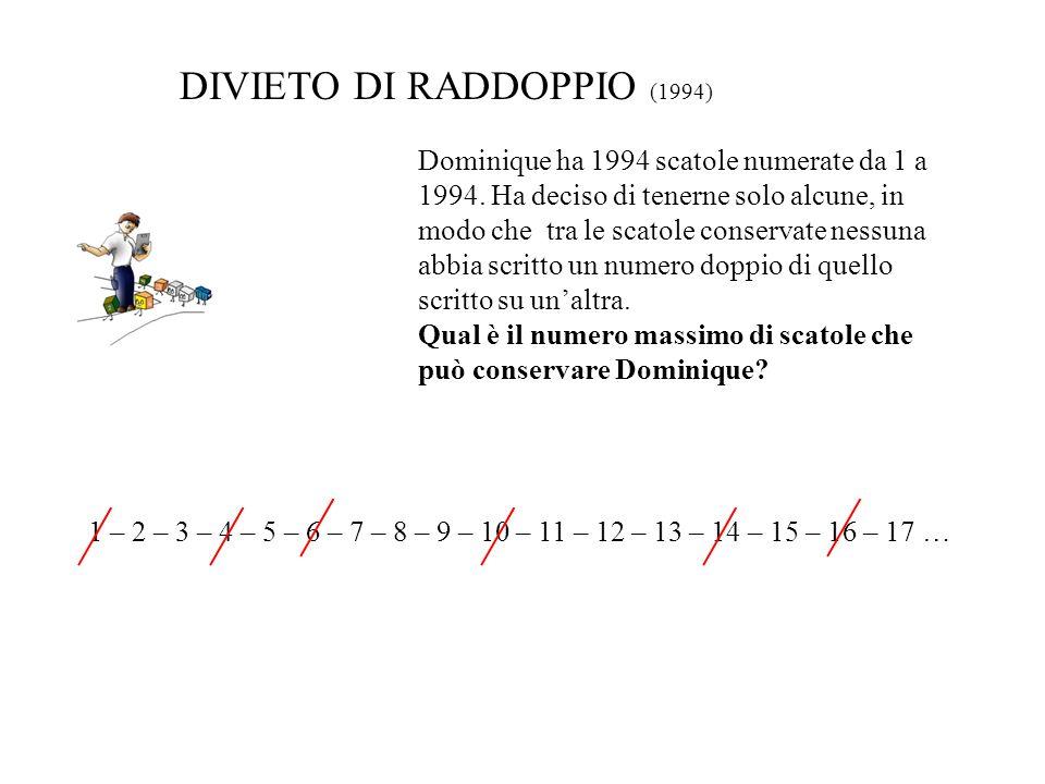 Dominique ha 1994 scatole numerate da 1 a 1994. Ha deciso di tenerne solo alcune, in modo che tra le scatole conservate nessuna abbia scritto un numer