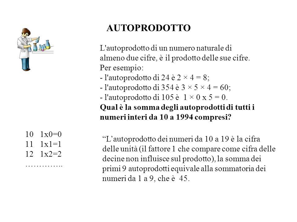 AUTOPRODOTTO Lautoprodotto dei numeri da 10 a 19 è la cifra delle unità (il fattore 1 che compare come cifra delle decine non influisce sul prodotto),