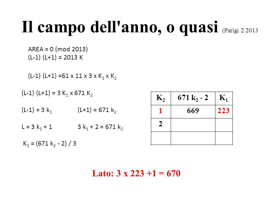 Il campo dell anno, o quasi (Parigi 2 2013) AREA = 0 (mod 2013) (L-1) (L+1) = 2013 K (L-1) (L+1) =61 x 11 x 3 K 1 x K 2 (L-1) (L+1) = 11 K 1 x 183 K 2 x (L-1) = 11 k 1 (L+1) = 183 k 2 L = 11 k 1 + 111 k 1 + 2 = 183 k 2 K 1 = (183 k 2 - 2) / 11 Lato: 11 x 83 +1 = 914 k1k1 61 k 1 + 2k2k2 1181 2364 3547 4730 591383 6