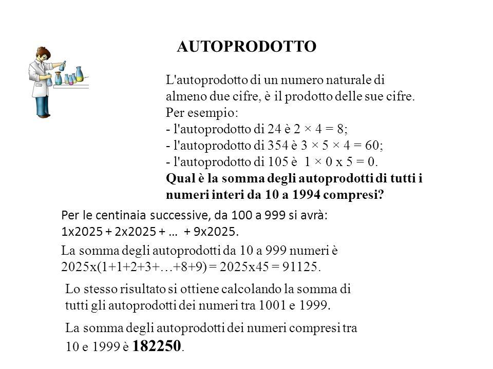 AUTOPRODOTTO Per le centinaia successive, da 100 a 999 si avrà: 1x2025 + 2x2025 + … + 9x2025. L'autoprodotto di un numero naturale di almeno due cifre