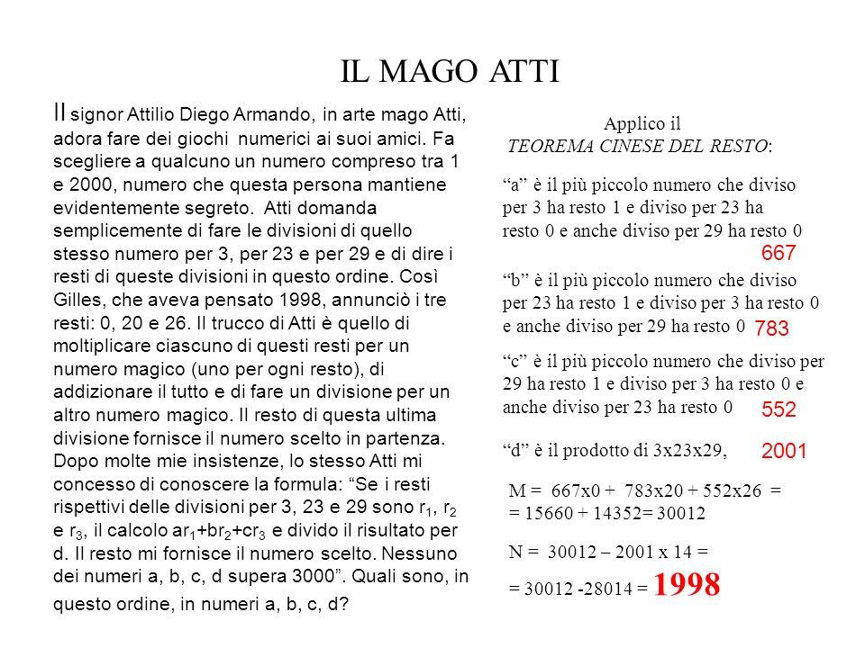 Applico il TEOREMA CINESE DEL RESTO: IL MAGO ATTI Il signor Attilio Diego Armando, in arte mago Atti, adora fare dei giochi numerici ai suoi amici. Fa