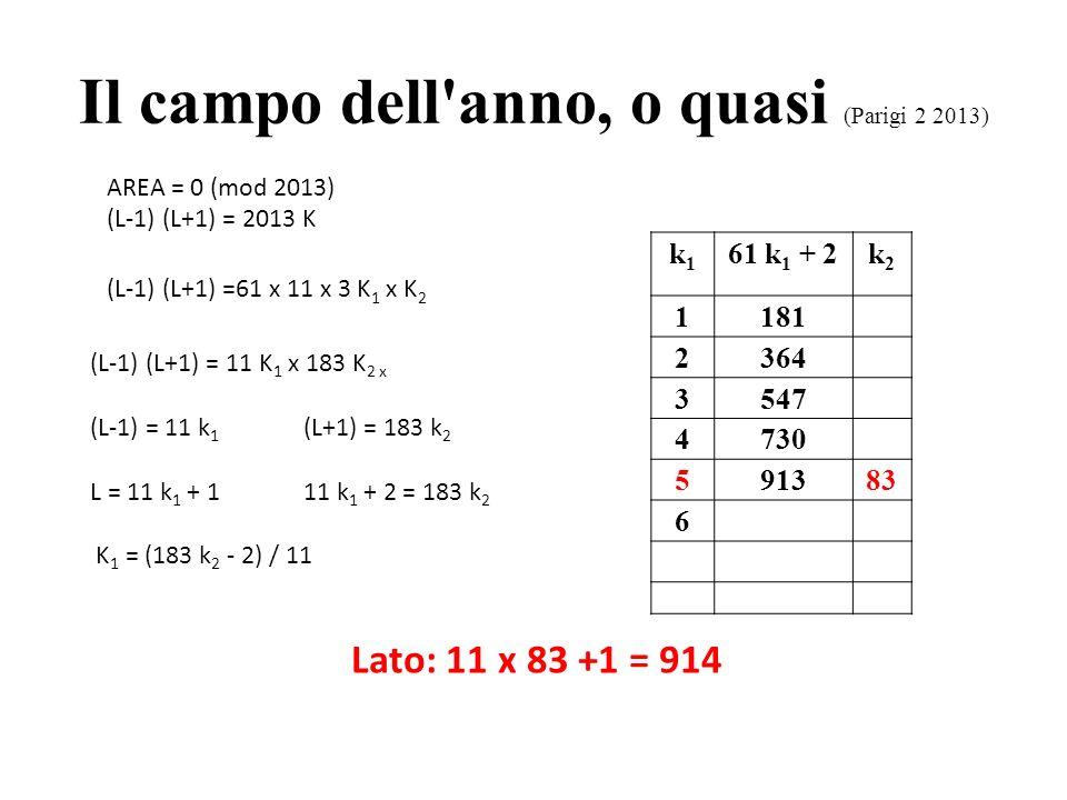 Il campo dell'anno, o quasi (Parigi 2 2013) AREA = 0 (mod 2013) (L-1) (L+1) = 2013 K (L-1) (L+1) =61 x 11 x 3 K 1 x K 2 (L-1) (L+1) = 11 K 1 x 183 K 2