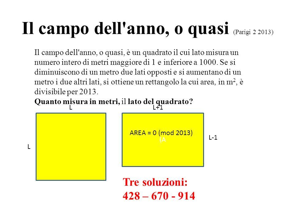 Il campo dell'anno, o quasi (Parigi 2 2013) Il campo dell'anno, o quasi, è un quadrato il cui lato misura un numero intero di metri maggiore di 1 e in