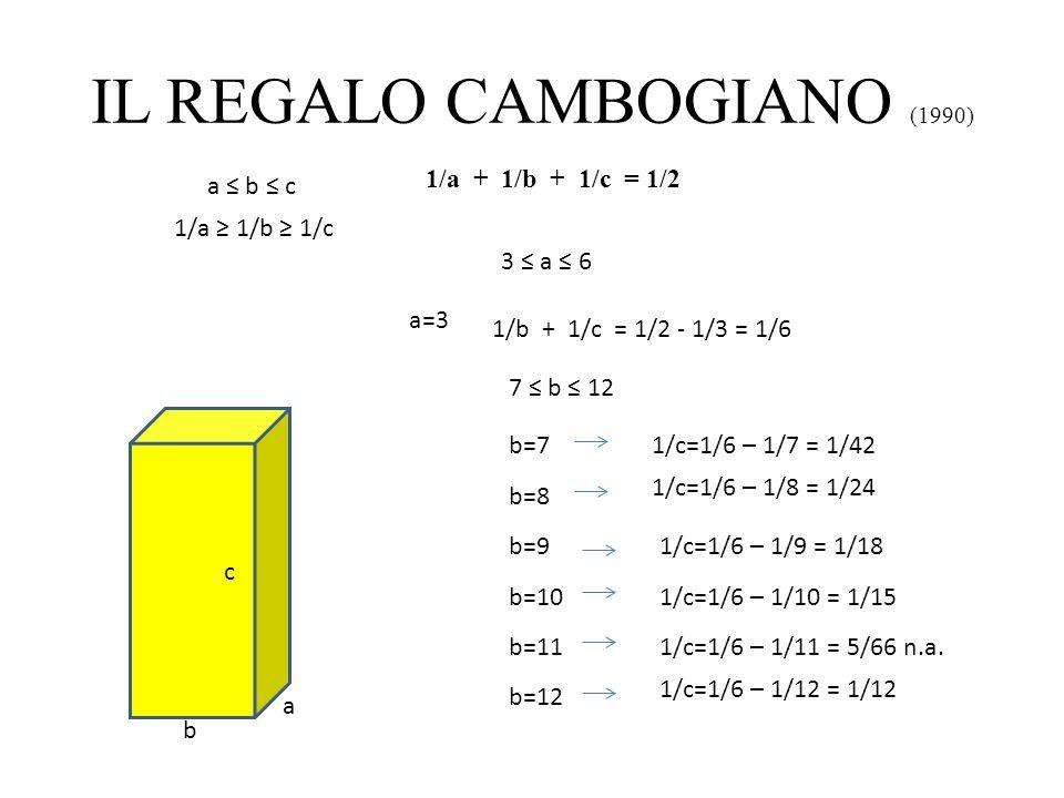 IL REGALO CAMBOGIANO (1990) a b c 1/a + 1/b + 1/c = 1/2 a b c 1/a 1/b 1/c 3 a 6 a=41/b + 1/c = 1/2 - 1/4 = 1/4 5 b 8 b=51/c=1/4 – 1/5 = 1/20 b=6 1/c=1/4– 1/6 = 1/12 b=7 1/c=1/4 – 1/7 = 3/28 n.a.
