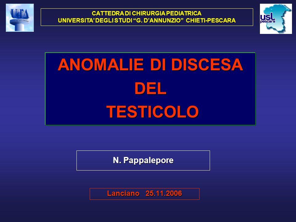 ANOMALIE DI DISCESA DEL TESTICOLO T.RITENUTO Endoaddominale (criptorchidia) Intracanalicolare Emergente Scrotale alto (gliding testis) T.ECTOPICO Inguinale superficiale Femorale Pre-penieno Perineale Crociato T.RETRATTILE (mobile) (in ascensore) (fluttuante)