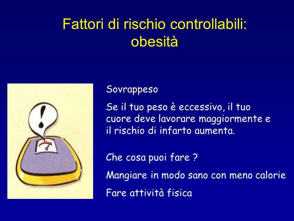 Fattori di rischio controllabili: obesità Sovrappeso Se il tuo peso è eccessivo, il tuo cuore deve lavorare maggiormente e il rischio di infarto aumen