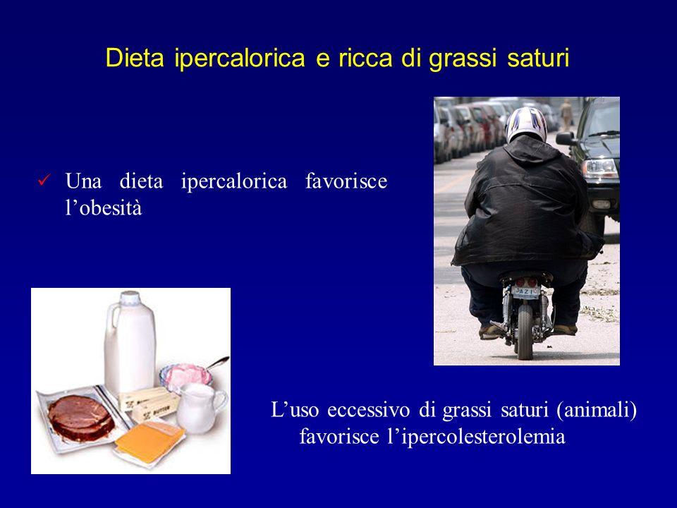 Dieta ipercalorica e ricca di grassi saturi Luso eccessivo di grassi saturi (animali) favorisce lipercolesterolemia Una dieta ipercalorica favorisce l
