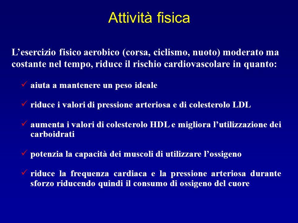 Attività fisica aiuta a mantenere un peso ideale riduce i valori di pressione arteriosa e di colesterolo LDL aumenta i valori di colesterolo HDL e mig