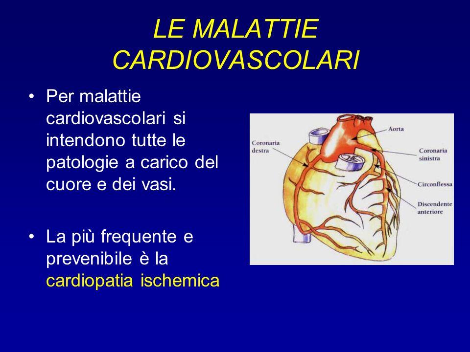 LE MALATTIE CARDIOVASCOLARI Per malattie cardiovascolari si intendono tutte le patologie a carico del cuore e dei vasi. La più frequente e prevenibile