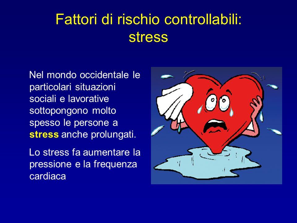 Fattori di rischio controllabili: stress Nel mondo occidentale le particolari situazioni sociali e lavorative sottopongono molto spesso le persone a s