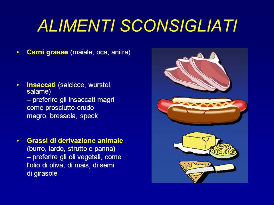 ALIMENTI SCONSIGLIATI Carni grasse (maiale, oca, anitra) Insaccati (salcicce, wurstel, salame) – preferire gli insaccati magri come prosciutto crudo m
