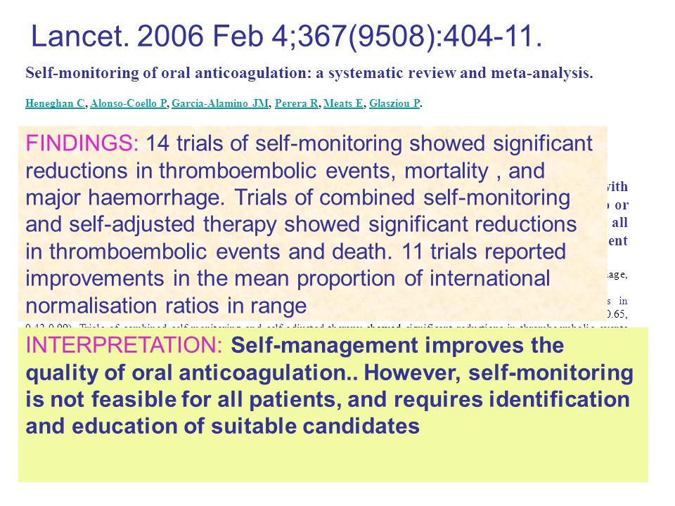 Self-monitoring of oral anticoagulation: a systematic review and meta-analysis. Heneghan C, Alonso-Coello P, Garcia-Alamino JM, Perera R, Meats E, Gla