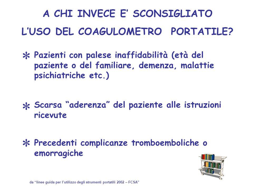 A CHI INVECE E SCONSIGLIATO LUSO DEL COAGULOMETRO PORTATILE? Pazienti con palese inaffidabilità (età del paziente o del familiare, demenza, malattie p