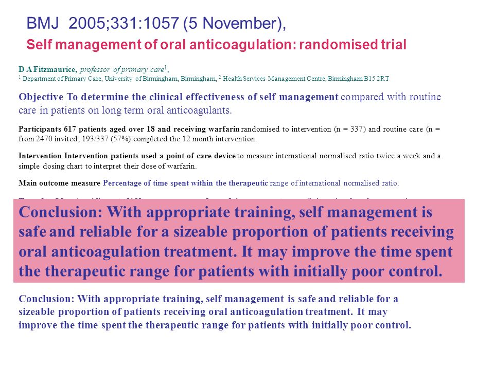 BMJ 2005;331:1057 (5 November), D A Fitzmaurice, professor of primary care 1, 1 Department of Primary Care, University of Birmingham, Birmingham, 2 He