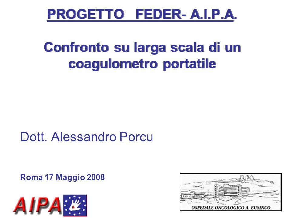 PROGETTO FEDER- A.I.P.A. Confronto su larga scala di un coagulometro portatile Dott. Alessandro Porcu Roma 17 Maggio 2008