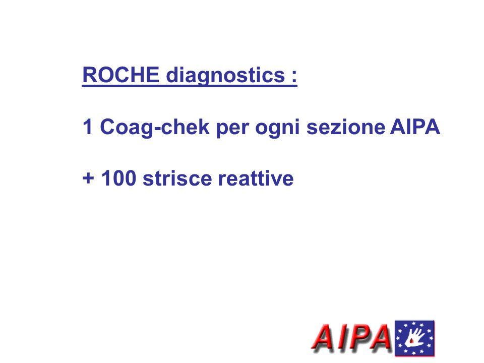 ROCHE diagnostics : 1 Coag-chek per ogni sezione AIPA + 100 strisce reattive