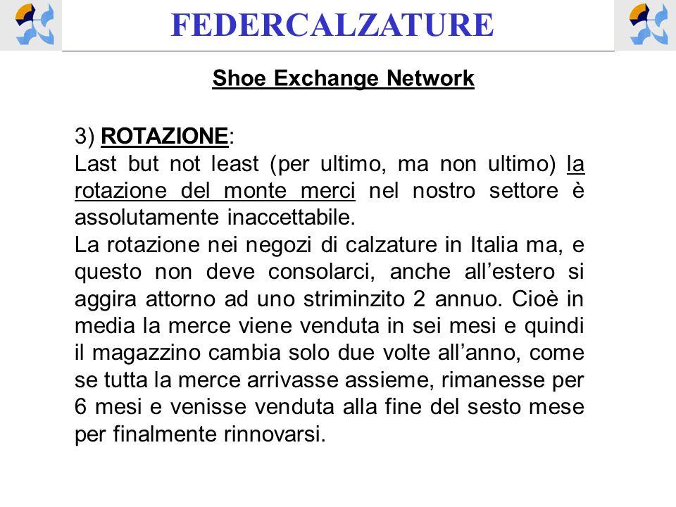 FEDERCALZATURE Shoe Exchange Network 3) ROTAZIONE: Last but not least (per ultimo, ma non ultimo) la rotazione del monte merci nel nostro settore è assolutamente inaccettabile.
