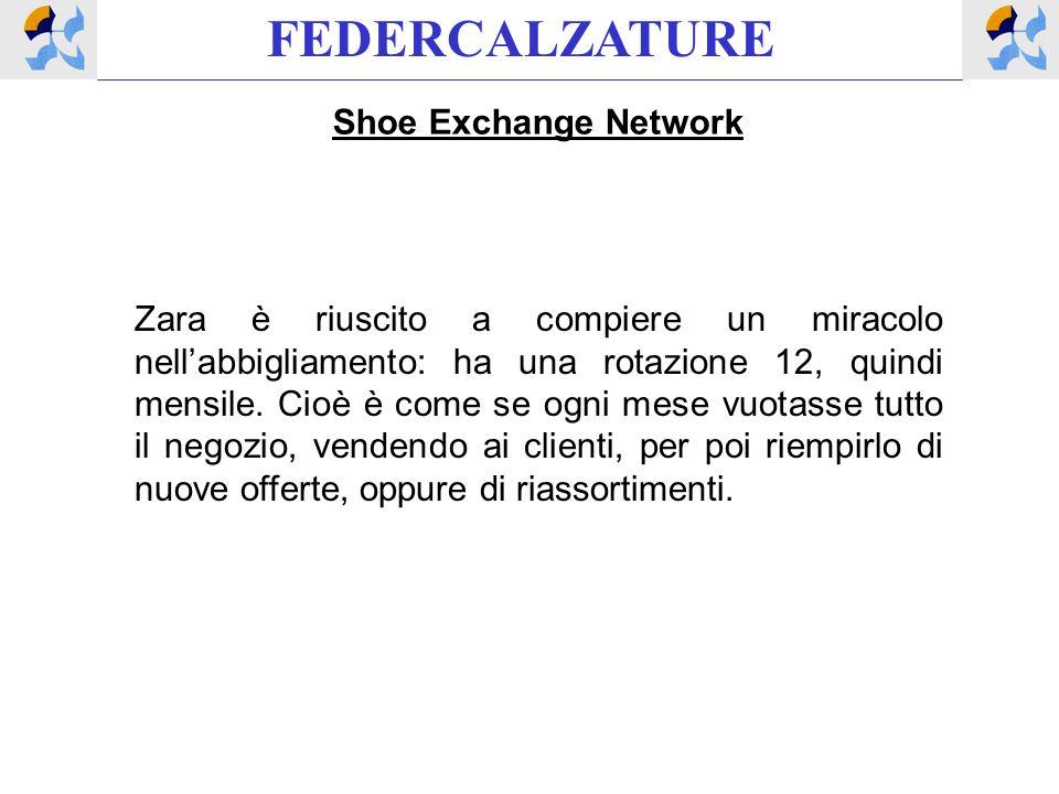 FEDERCALZATURE Shoe Exchange Network Zara è riuscito a compiere un miracolo nellabbigliamento: ha una rotazione 12, quindi mensile.