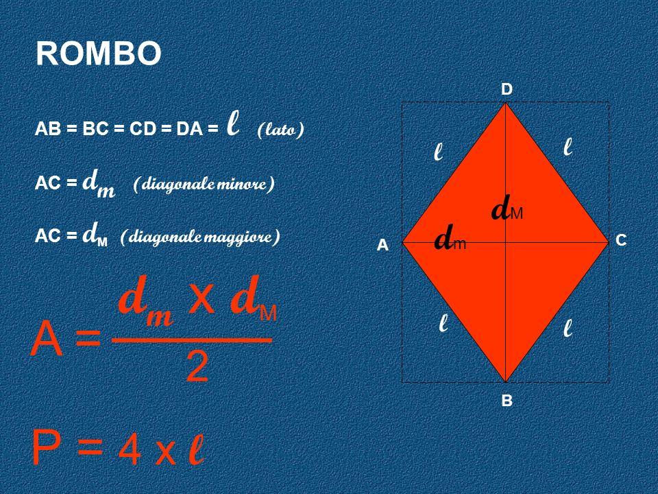 ROMBO A D C B AB = BC = CD = DA = l (lato) AC = d m (diagonale minore) AC = d M (diagonale maggiore) l l l l d m x d M 2 A = P = 4 x l dMdM dmdm