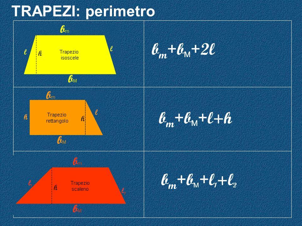 TRAPEZI: perimetro b m + b M + 2l b m + b M + l 1 +l 2 b m + b M + l+h