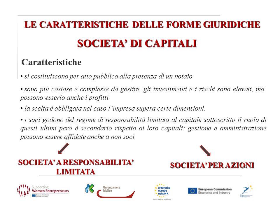 LE CARATTERISTICHE DELLE FORME GIURIDICHE SOCIETA DI CAPITALI Caratteristiche SOCIETA A RESPONSABILITA LIMITATA SOCIETA PER AZIONI si costituiscono pe