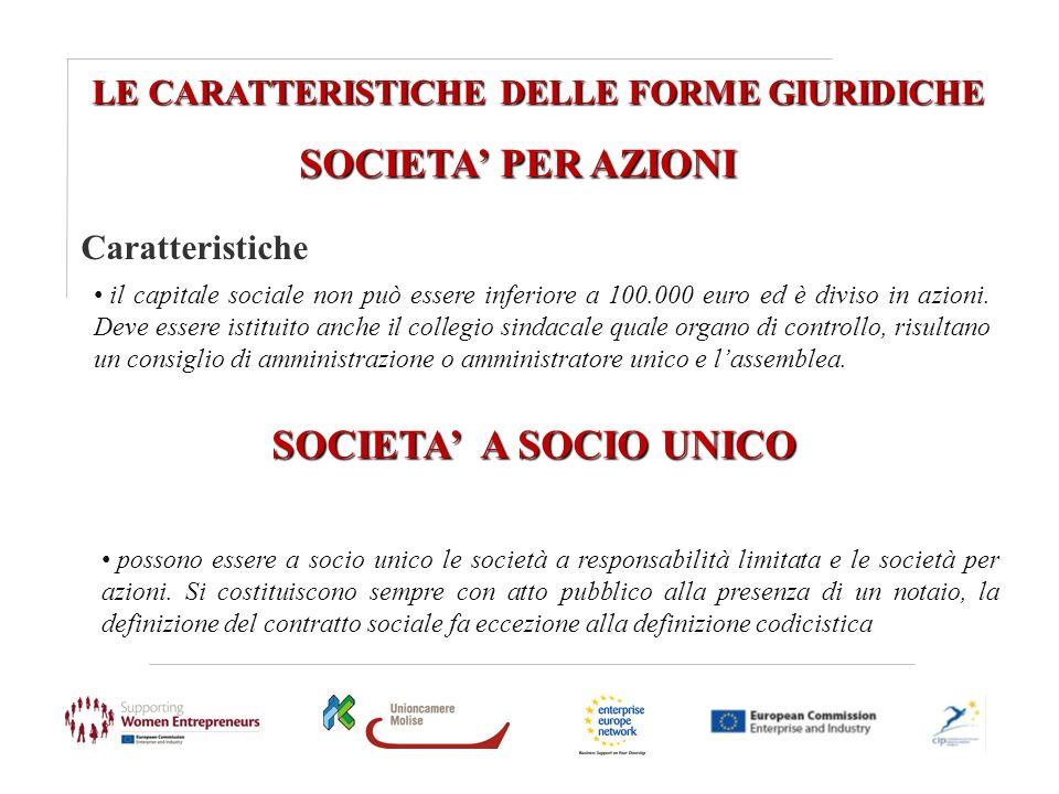 LE CARATTERISTICHE DELLE FORME GIURIDICHE SOCIETA PER AZIONI Caratteristiche il capitale sociale non può essere inferiore a 100.000 euro ed è diviso i