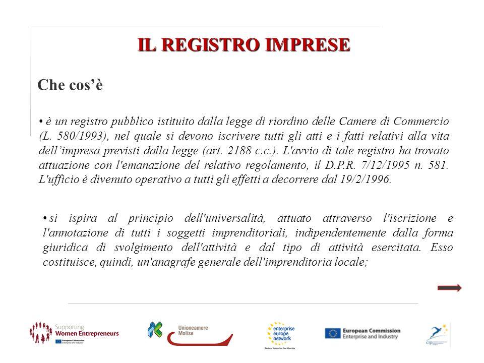 IL REGISTRO IMPRESE Che cosè è un registro pubblico istituito dalla legge di riordino delle Camere di Commercio (L. 580/1993), nel quale si devono isc
