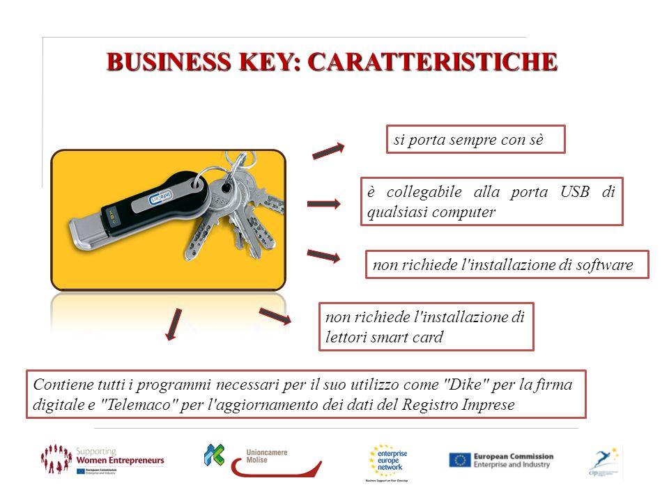 BUSINESS KEY: CARATTERISTICHE è collegabile alla porta USB di qualsiasi computer si porta sempre con sè non richiede l'installazione di software Conti