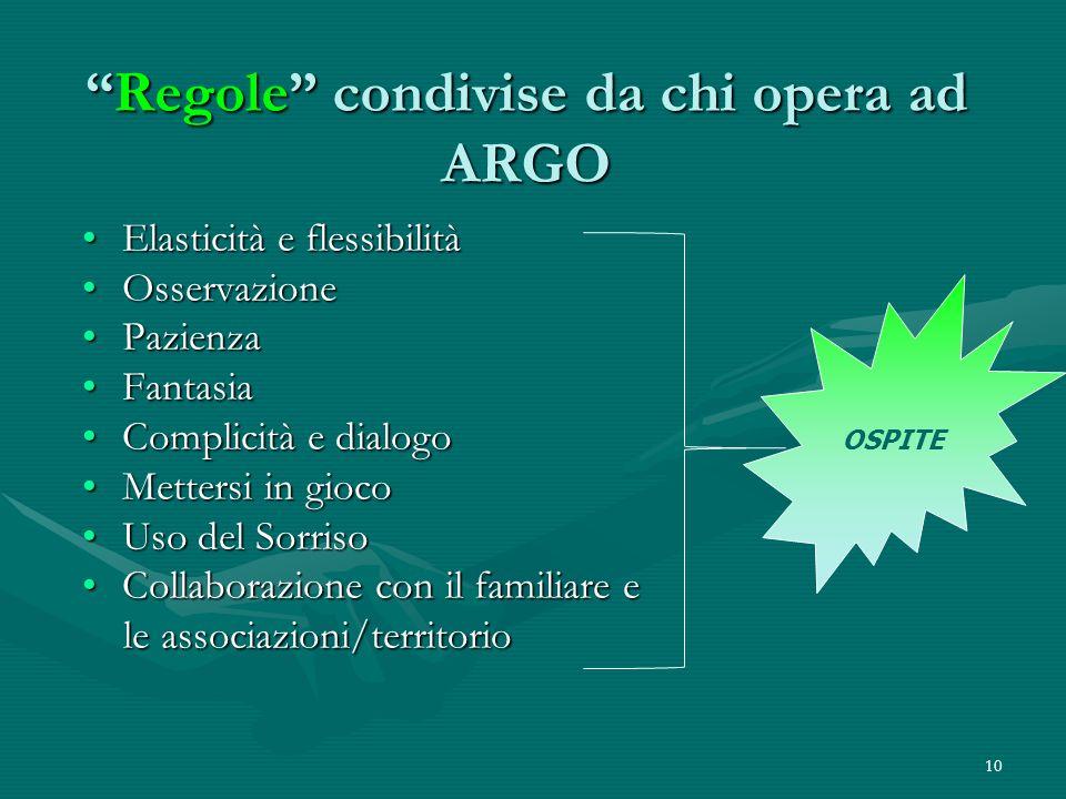 10 Regole condivise da chi opera ad ARGORegole condivise da chi opera ad ARGO Elasticità e flessibilitàElasticità e flessibilità OsservazioneOsservazi