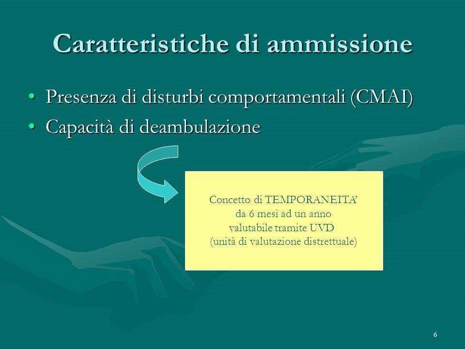 6 Caratteristiche di ammissione Presenza di disturbi comportamentali (CMAI)Presenza di disturbi comportamentali (CMAI) Capacità di deambulazioneCapaci
