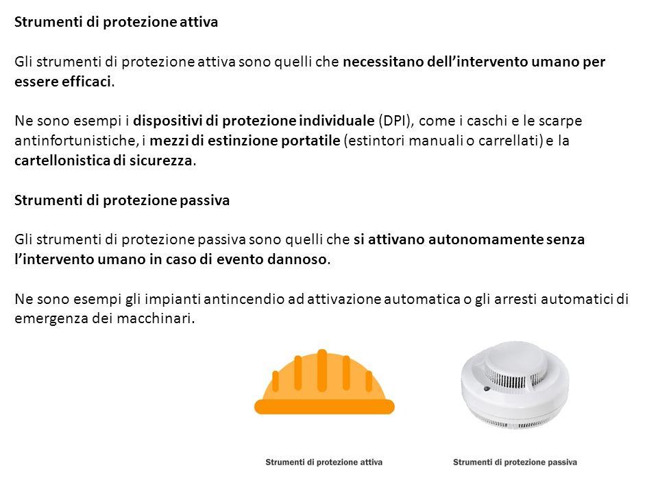 Strumenti di protezione attiva Gli strumenti di protezione attiva sono quelli che necessitano dellintervento umano per essere efficaci. Ne sono esempi