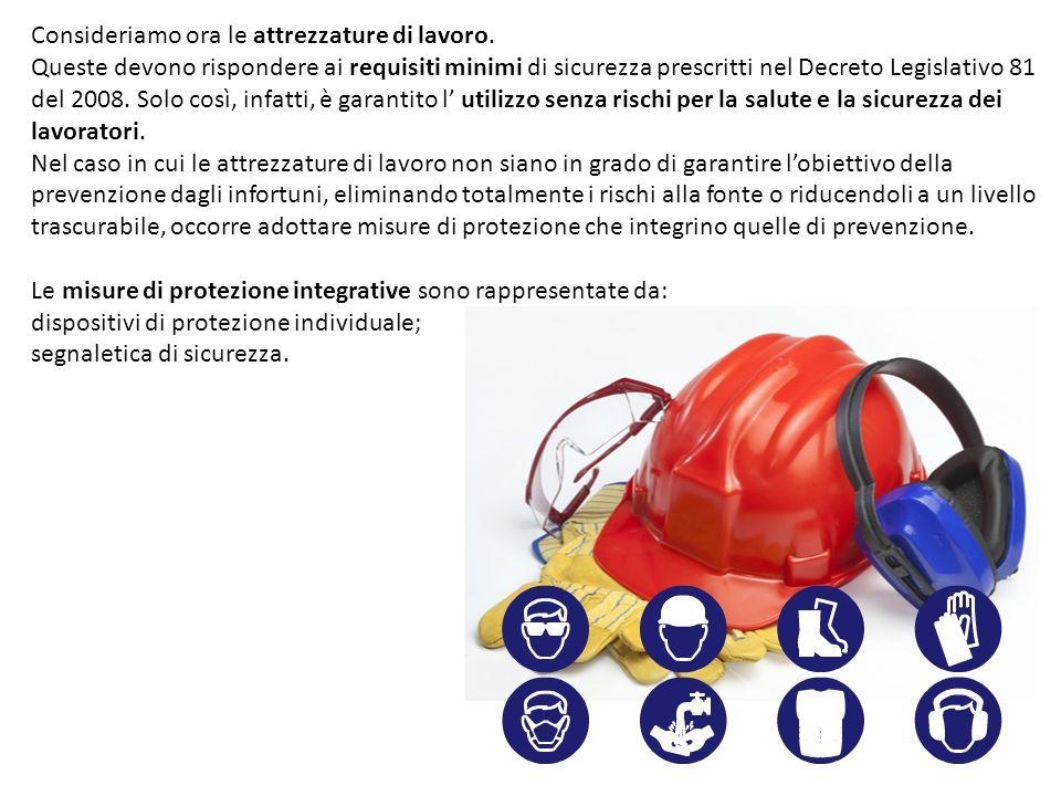 Consideriamo ora le attrezzature di lavoro. Queste devono rispondere ai requisiti minimi di sicurezza prescritti nel Decreto Legislativo 81 del 2008.