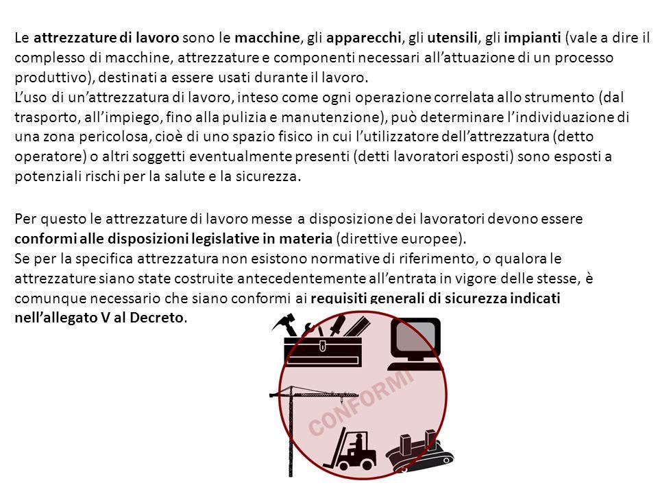 Le attrezzature di lavoro sono le macchine, gli apparecchi, gli utensili, gli impianti (vale a dire il complesso di macchine, attrezzature e component