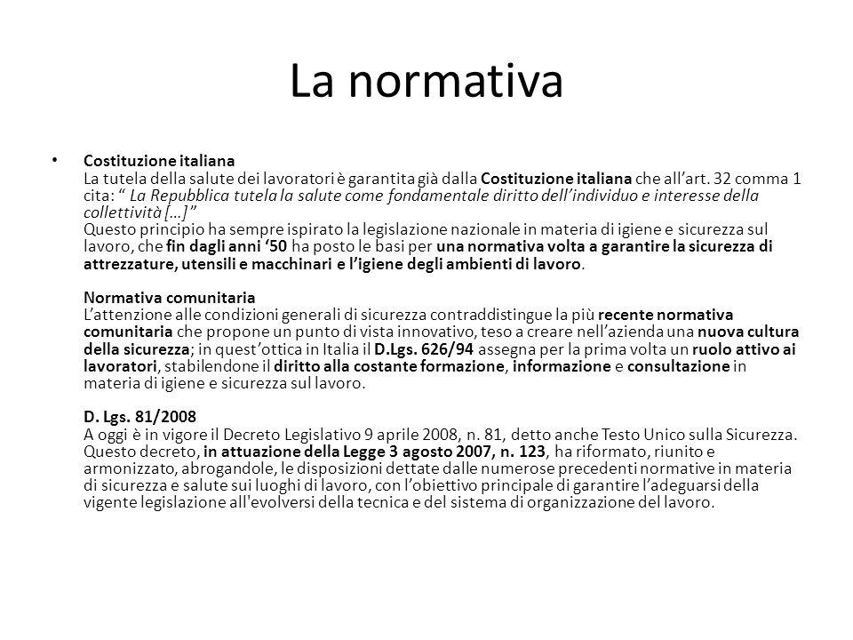 La normativa Costituzione italiana La tutela della salute dei lavoratori è garantita già dalla Costituzione italiana che allart. 32 comma 1 cita: La R