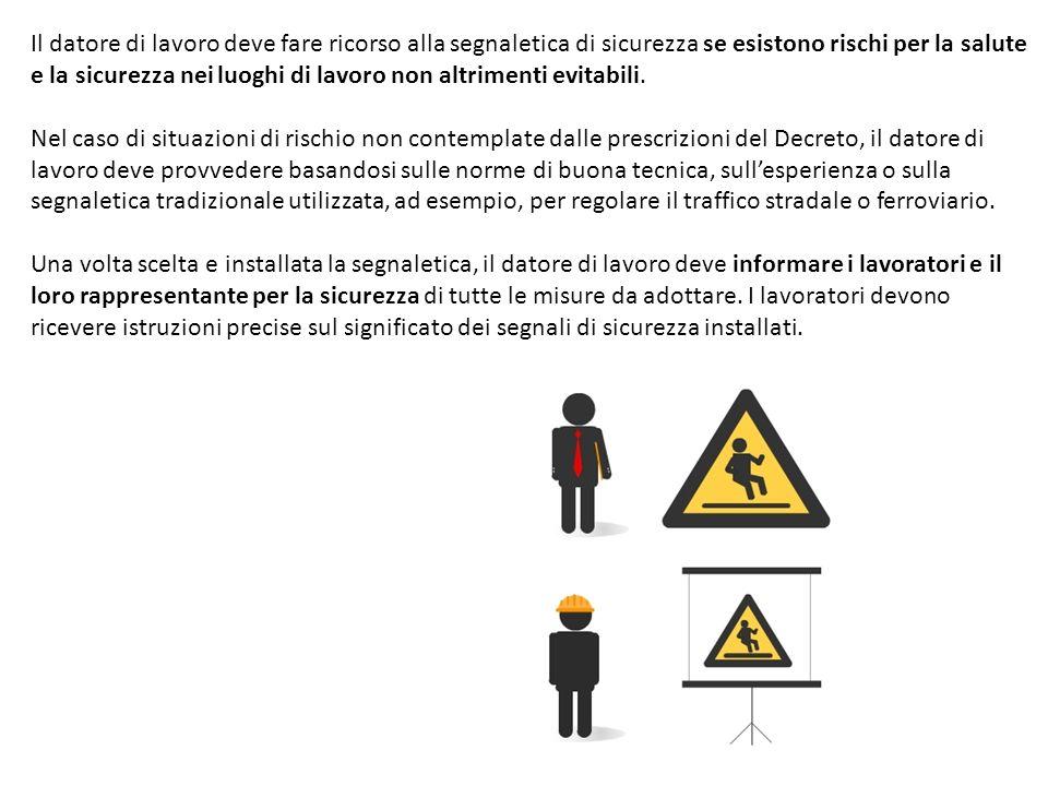 Il datore di lavoro deve fare ricorso alla segnaletica di sicurezza se esistono rischi per la salute e la sicurezza nei luoghi di lavoro non altriment