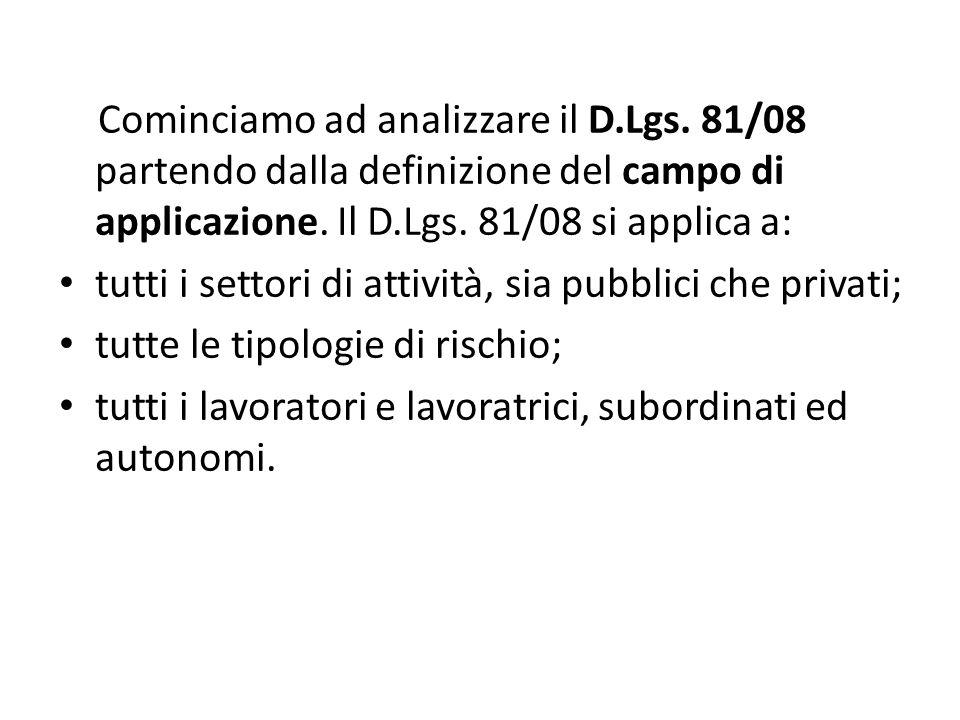 Cominciamo ad analizzare il D.Lgs. 81/08 partendo dalla definizione del campo di applicazione. Il D.Lgs. 81/08 si applica a: tutti i settori di attivi