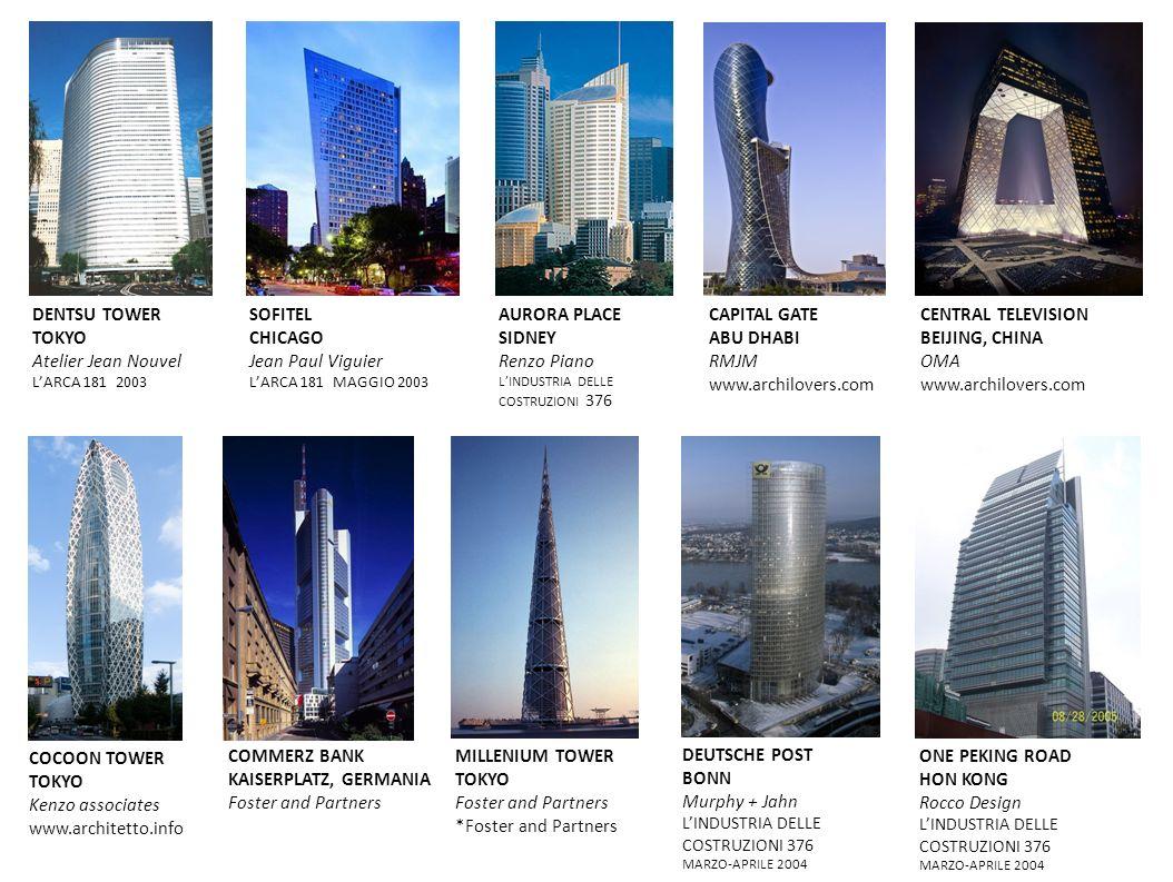 DENTSU TOWER TOKYO Atelier Jean Nouvel LARCA 181 2003 SOFITEL CHICAGO Jean Paul Viguier LARCA 181 MAGGIO 2003 AURORA PLACE SIDNEY Renzo Piano LINDUSTR