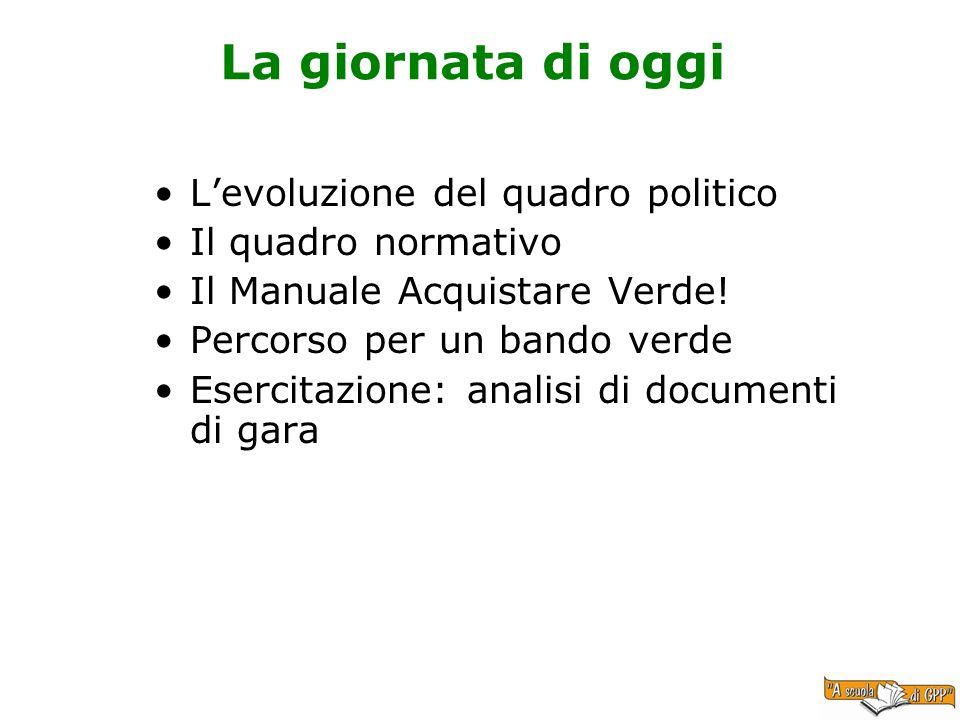 La giornata di oggi Levoluzione del quadro politico Il quadro normativo Il Manuale Acquistare Verde! Percorso per un bando verde Esercitazione: analis